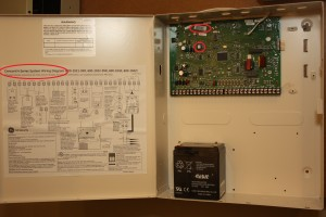 Inside the control box for the GE Concord Express LCD Keypad alarm system - NCA Alarms Nashville TN