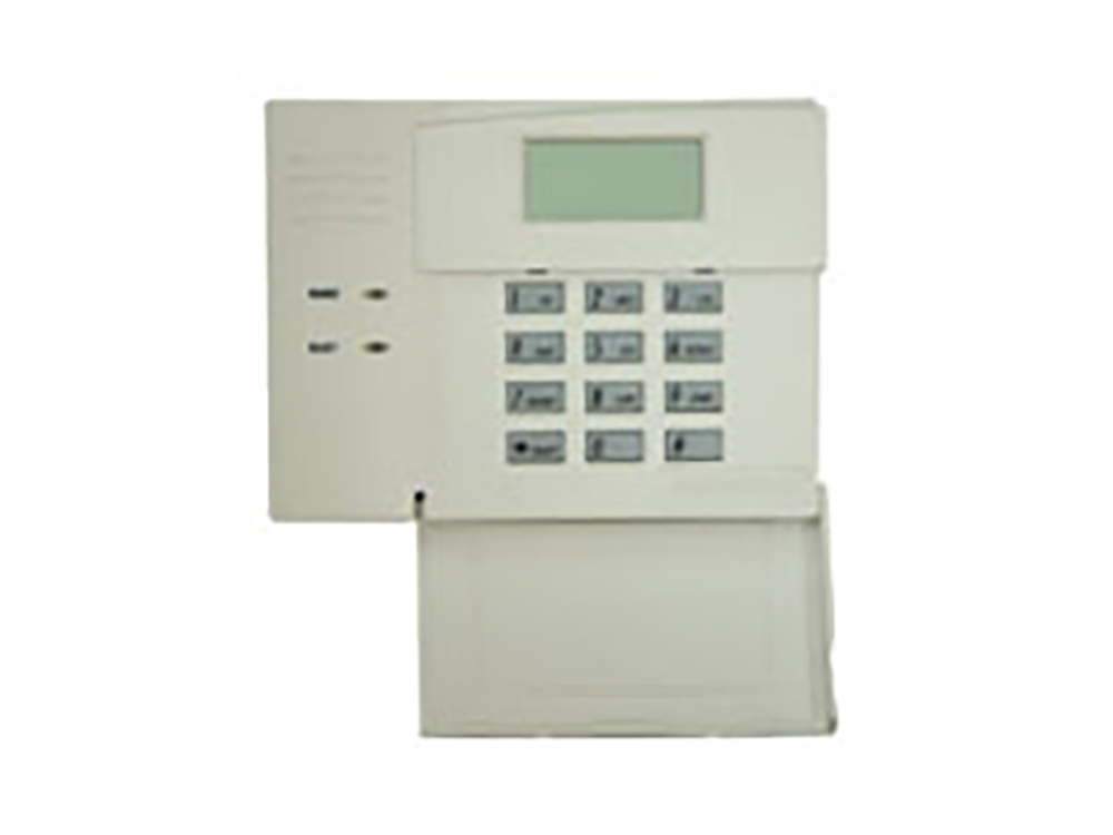 Keypad for the ADECMO Fixed English older version alarm system with protection cover open - NCA Alarms Nashville TN
