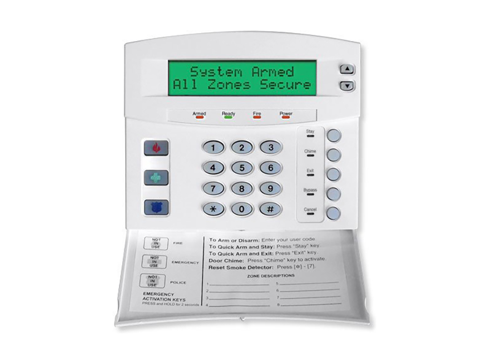 Keypad for the Caddx NX 1448e Custom Alpha alarm system with the protection cover open - NCA Alarms Nashville TN