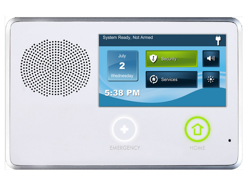 Keypad for the 2GIG alarm system showing the touchscreen icons - NCA Alarms Nashville TN