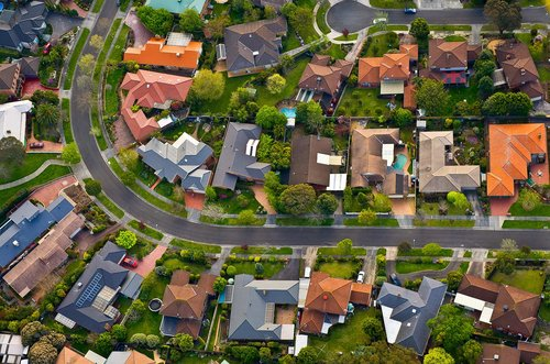 Aerial view of a neighborhood