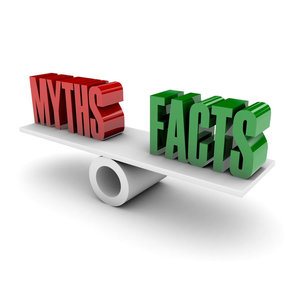 "Picture of the words ""myths"" and ""facts"" on a balance"