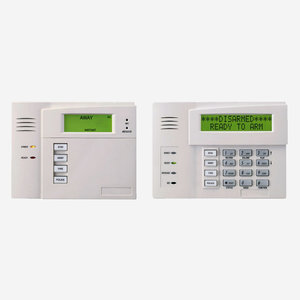 Pictures of two alarm control panels