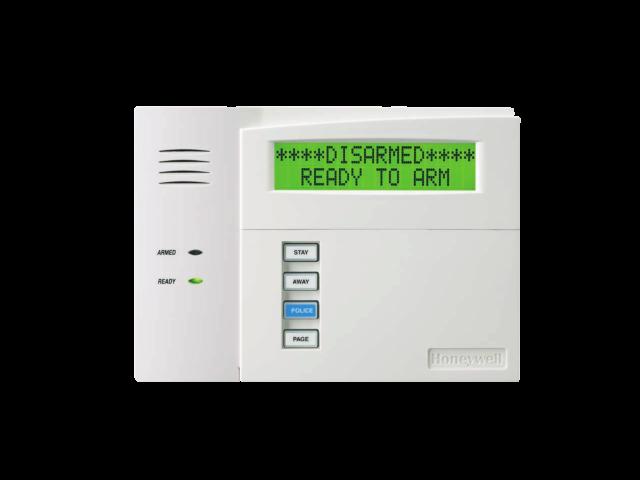 Keypad for the 6160 Honeywell Custom Alpha alarm system with protection cover open- NCA Alarms Nashville TN