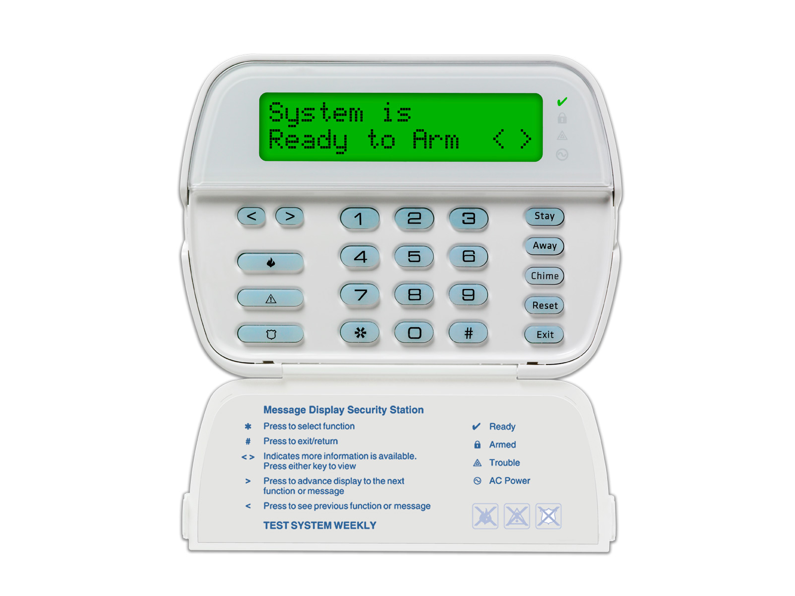The 5500 DSC Power Series Custom Alpha alarm system keypad with the protection cover slightly open - NCA Alarms Nashville TN