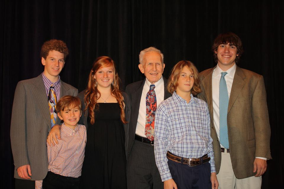 gene hatfield with grandkids arkansas arts council lifetime achievement award
