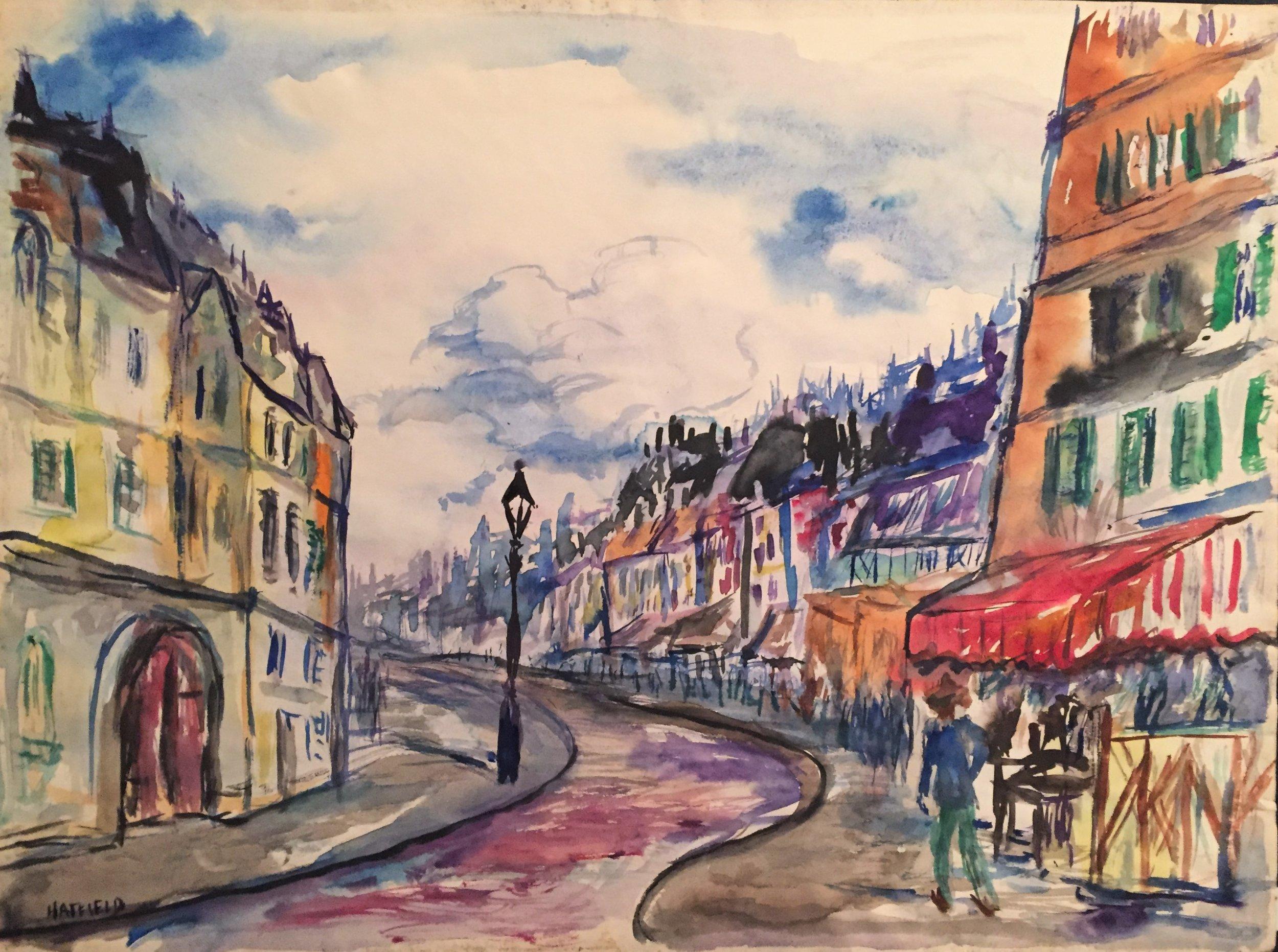 Street Scene w Red Awning, France .JPG