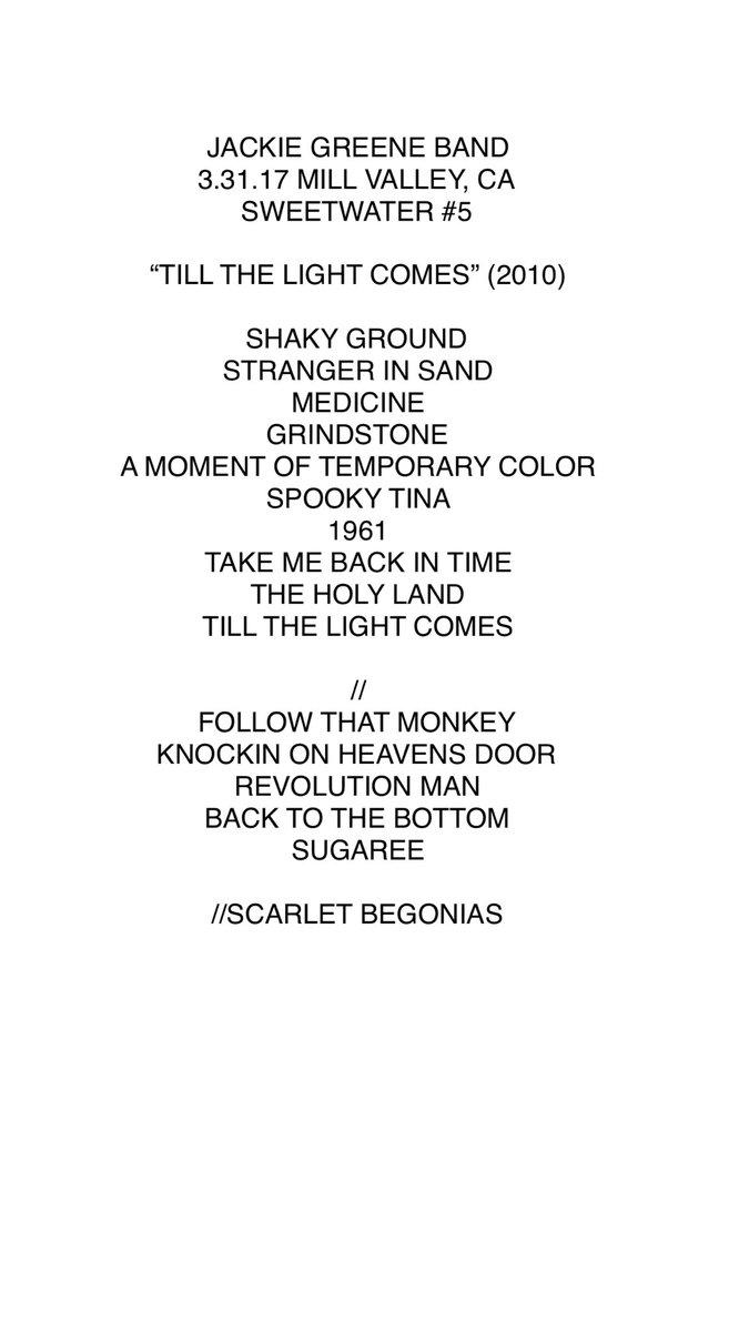 3:31:2017 Set List