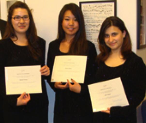 2009-2010 Scholarship Winners Rachel Chung, Ashley Moon and Beata Safari