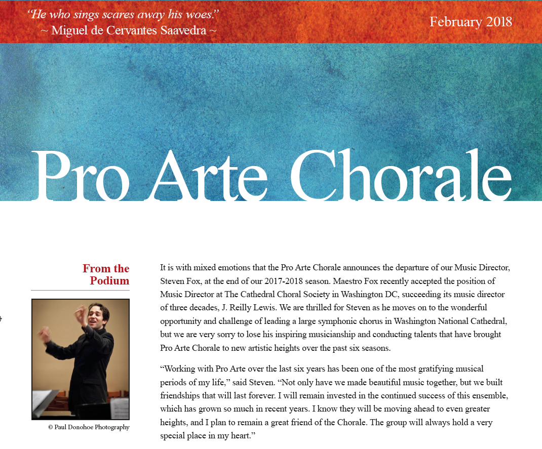 FEBRUARY 2018 - Pro Arte announces the departure of its Music Director, Steven Fox at the end of the 2017-2018 season...