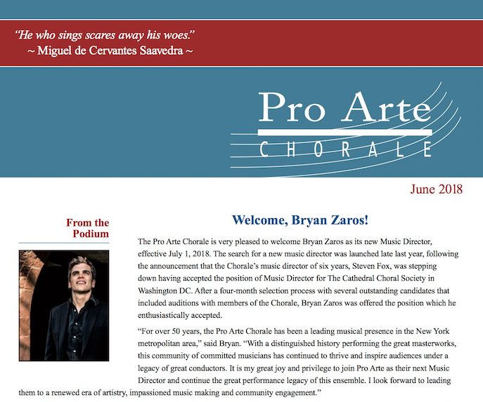 JUNE 2018 - Pro Arte announces its new Musical Director, Bryan Zaros, effective July 1, 2018...