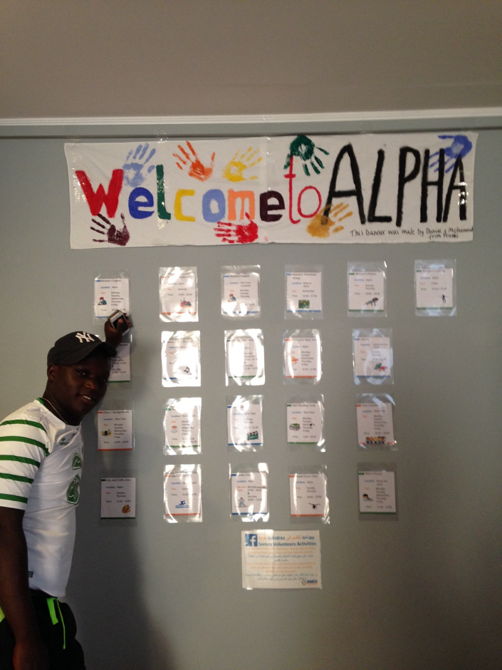 Jon, a long-term SV community volunteer, admires one of our early schedules in Alpha