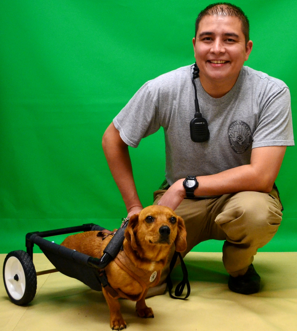 Urban Rodriguez posing with William the Dachshund in his cart
