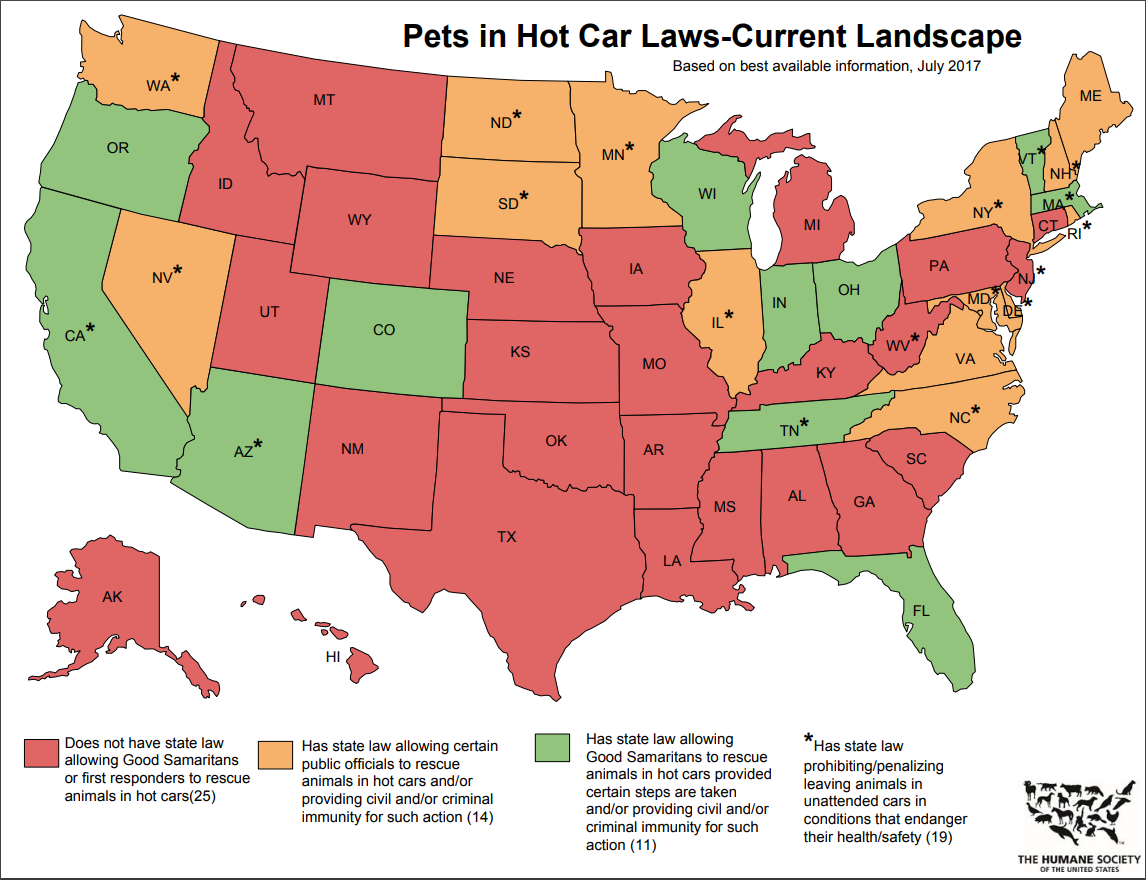 United States map showing information about Good Samaritan laws