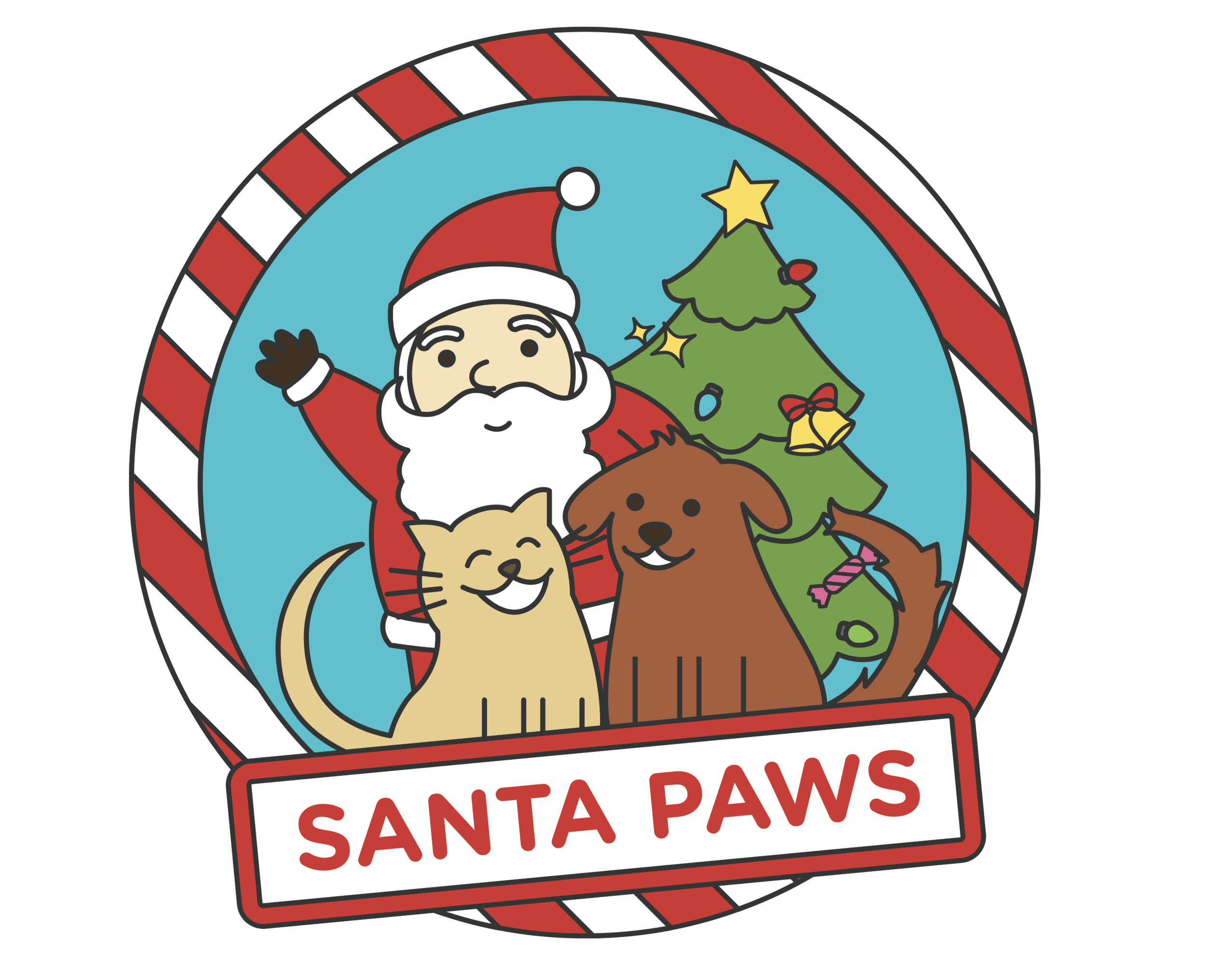 Santa, a dog, a cat, Christmas tree, and a sign that reads Santa Paws