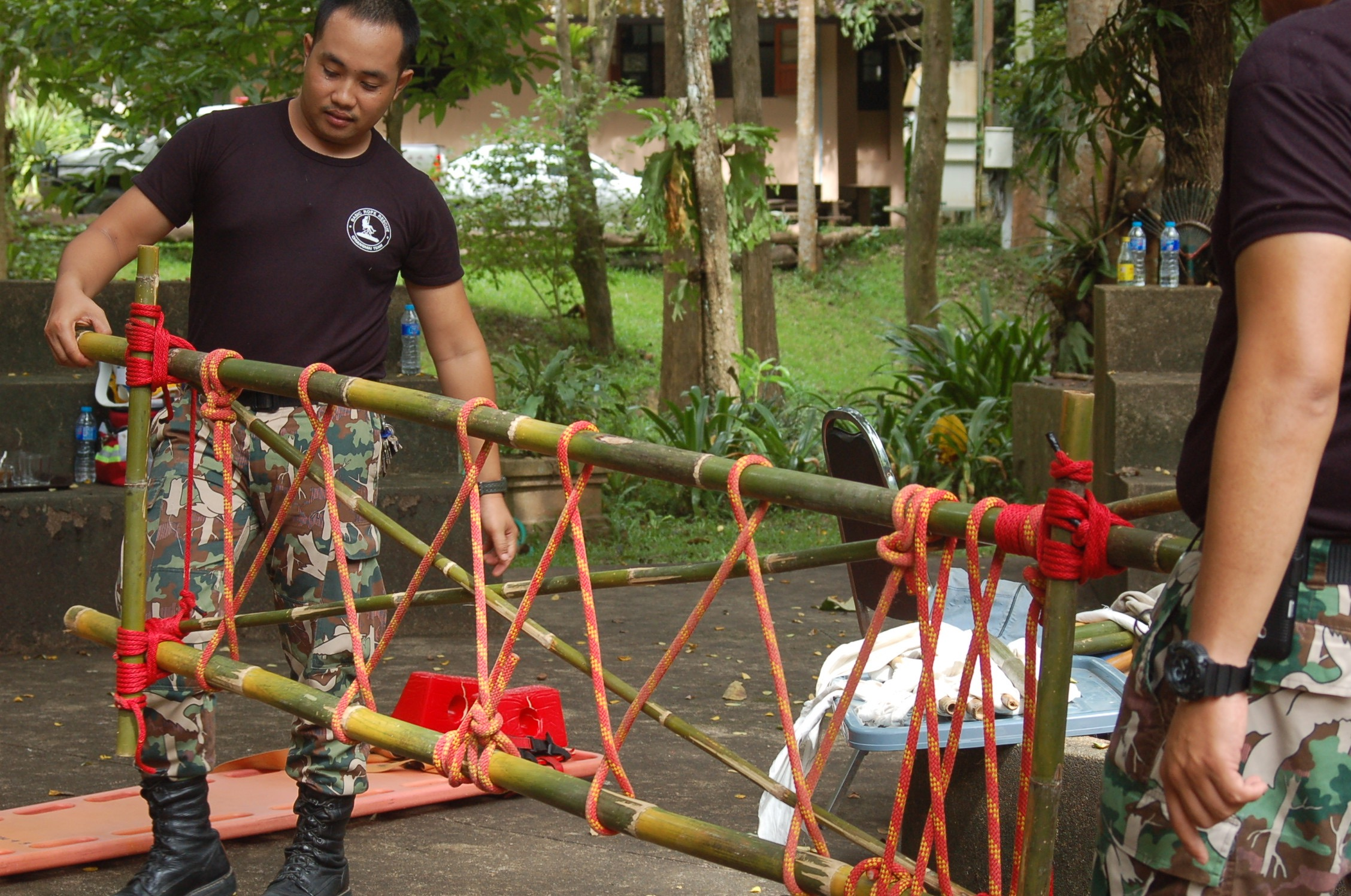 Chiang Mai Rope Rescue Team Assembles Bamboo Stretcher