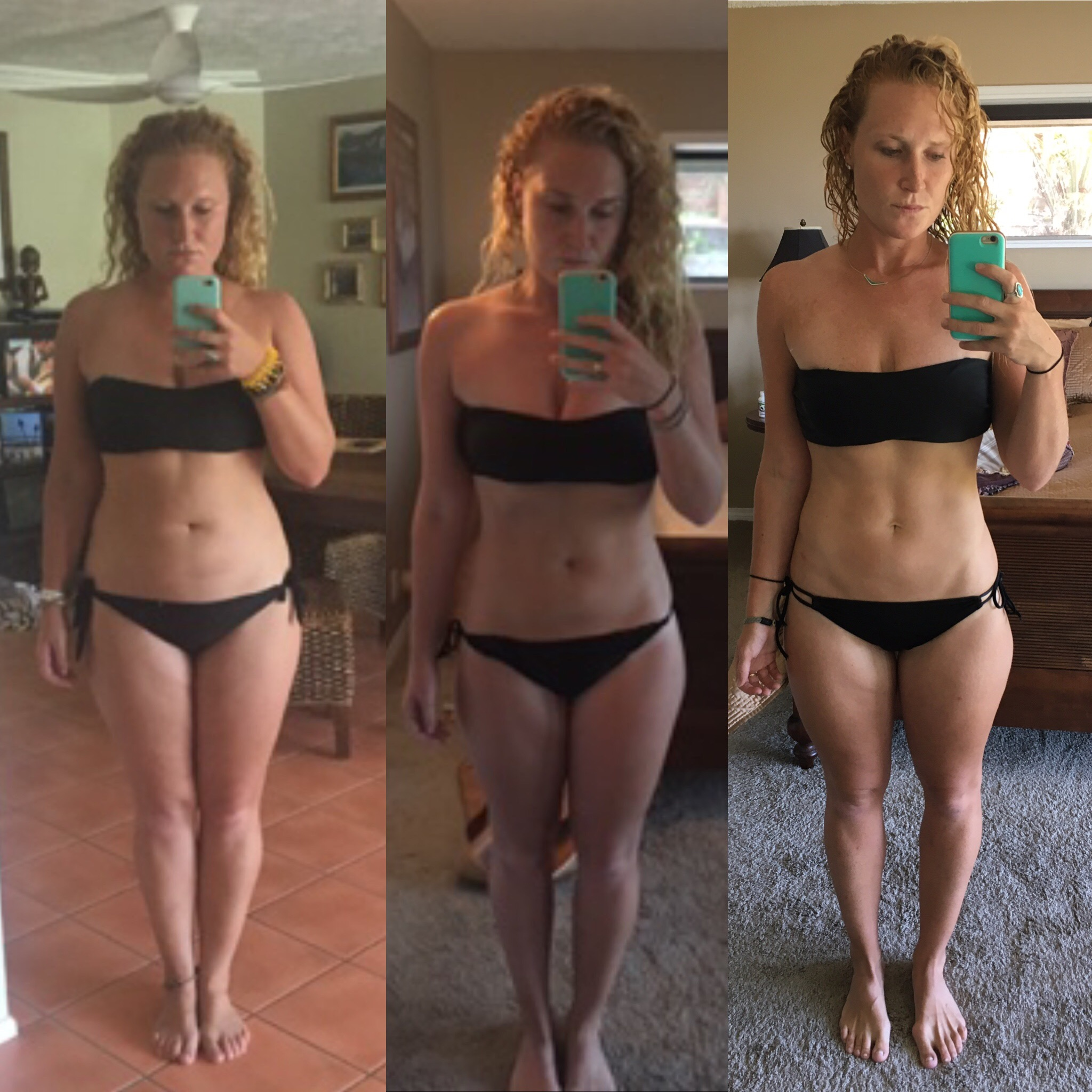 My progress thus far | March 16, 2016 vs. March 17, 2017 vs. June 16, 2017 | I was stuck in an eating disorder for so long I was afraid of using the scale with fear it would become an addiction again. Now,I am proud to say I have no fear of the scale and use it only every so often. I used Kayla Itsines BBG program & daily yoga to gain more definition in my body while eating a balanced diet with moderation as the key for success.