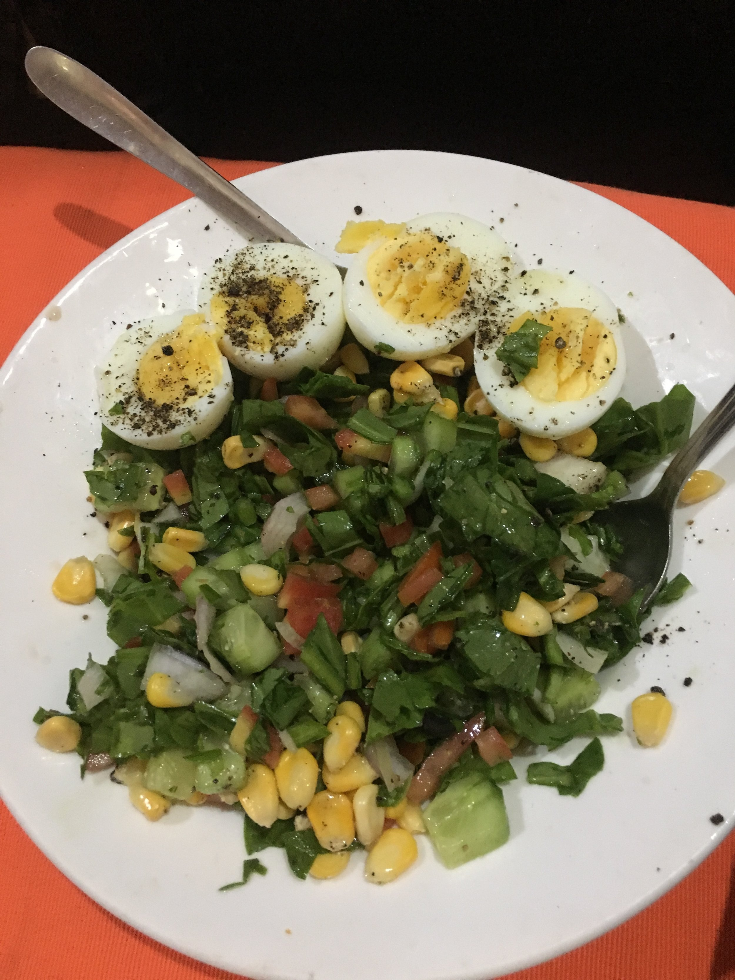 Green salad with boiled eggs @ Yummy Yoga