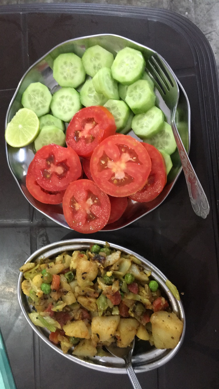 Mix veg and a green salad @ Neelam's