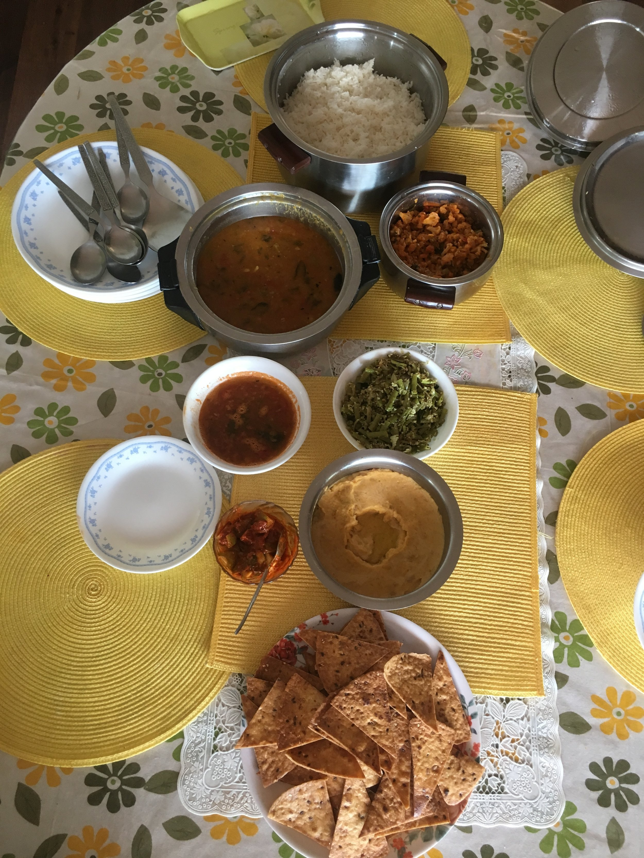Typical lunch spread cooked by our host's chef.