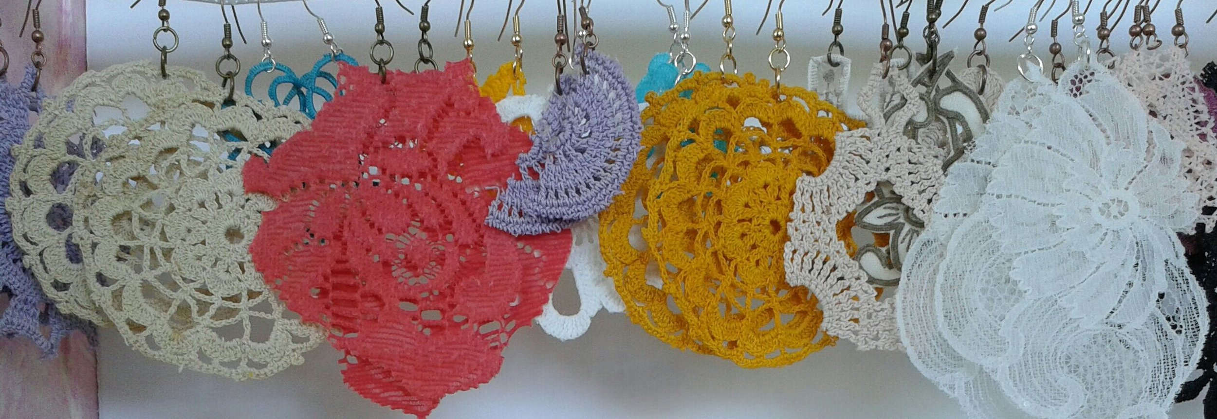 Doily and lace earrings - hand dyed and cut