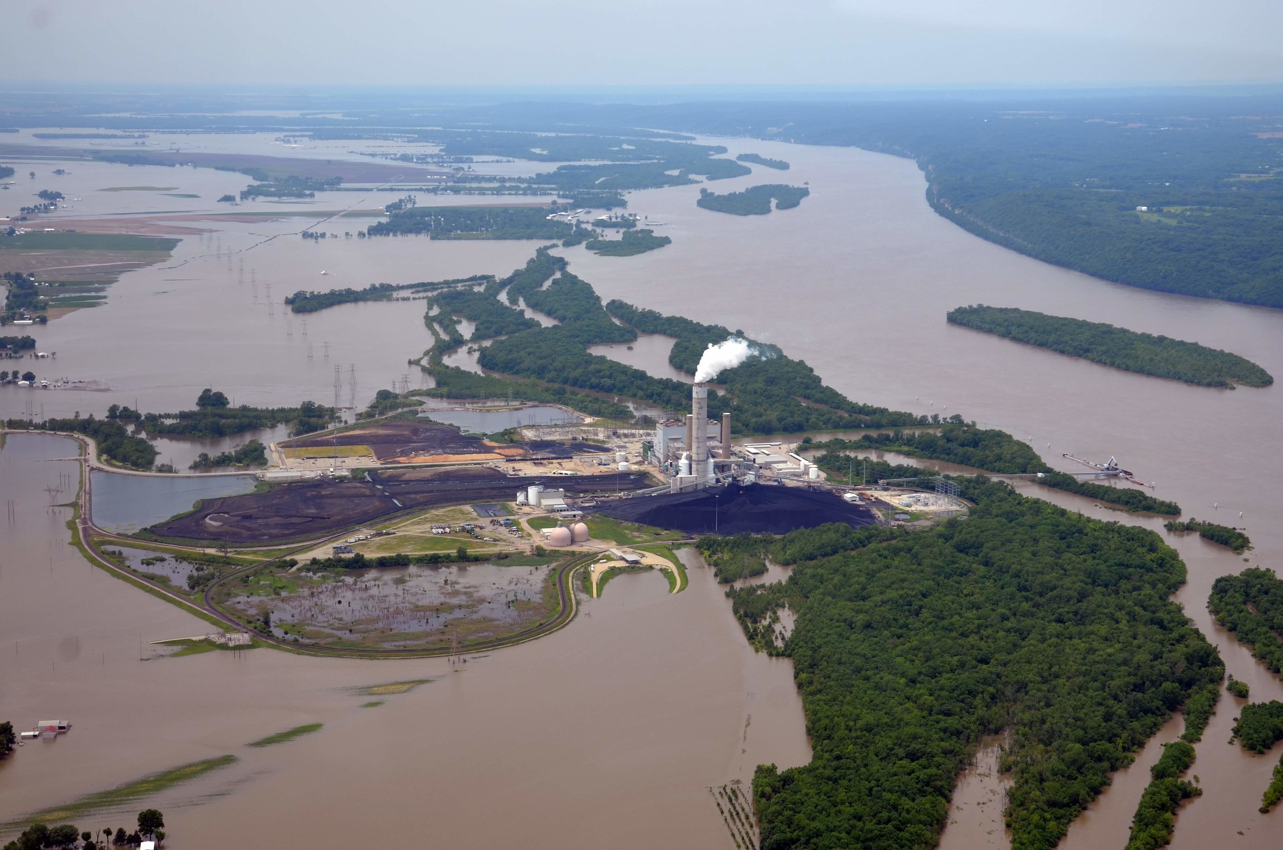 Ameren's Sioux Power Station at the confluence between the Mississippi and the Missouri Rivers | Photo taken on June 3, 2019 by Derek Hoeferlin