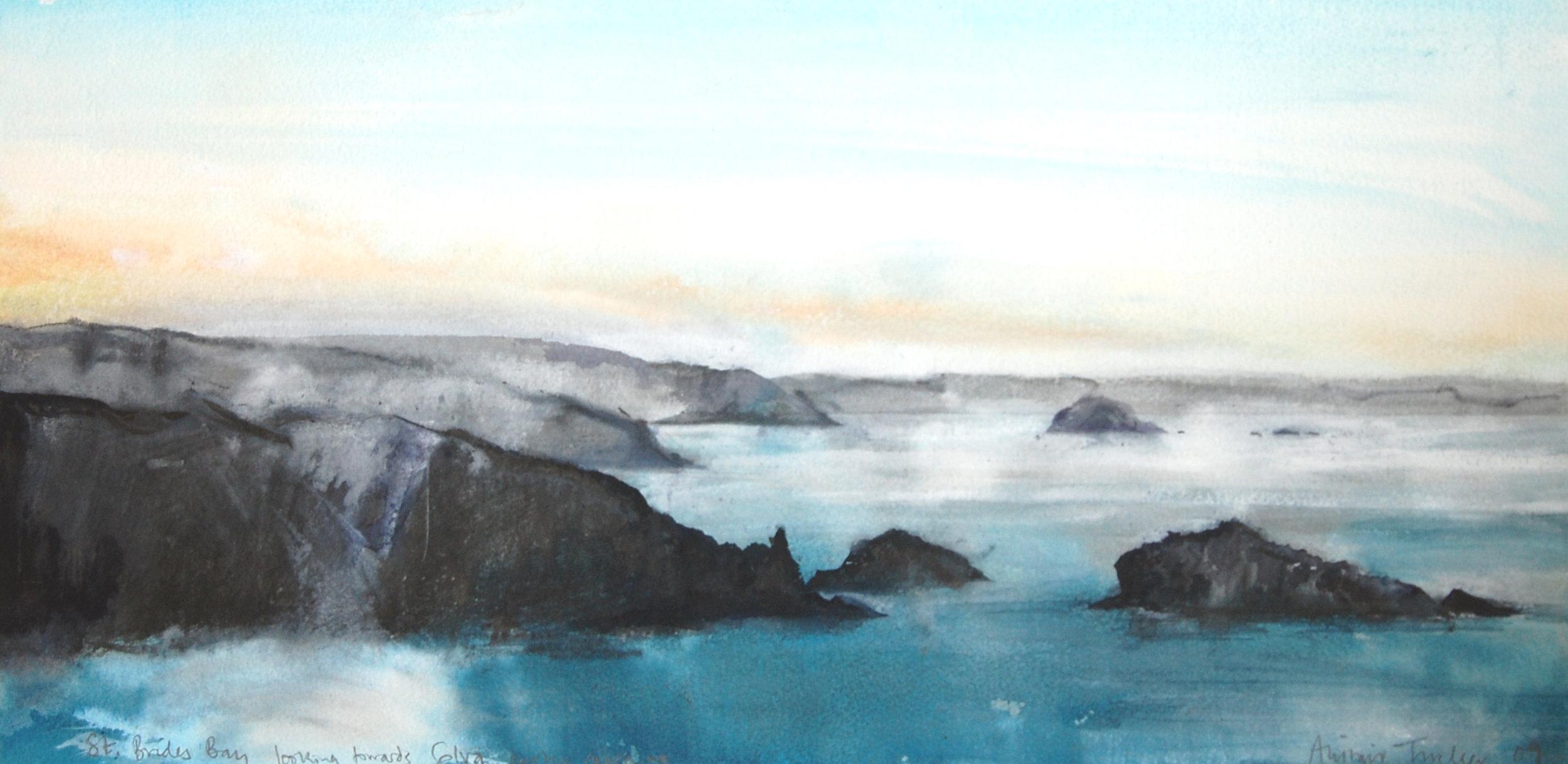 St Brides Bay looking towards Solva early morning