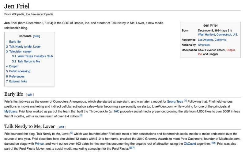 Wikipedia page, Jen Friel