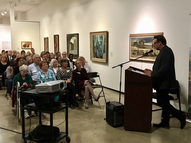 Board member and Preservation Architect, Robert Imboden, welcomes guests at the launch of Preserve Orange County, at the Hilbert Museum of California Art on November 3, 2017.