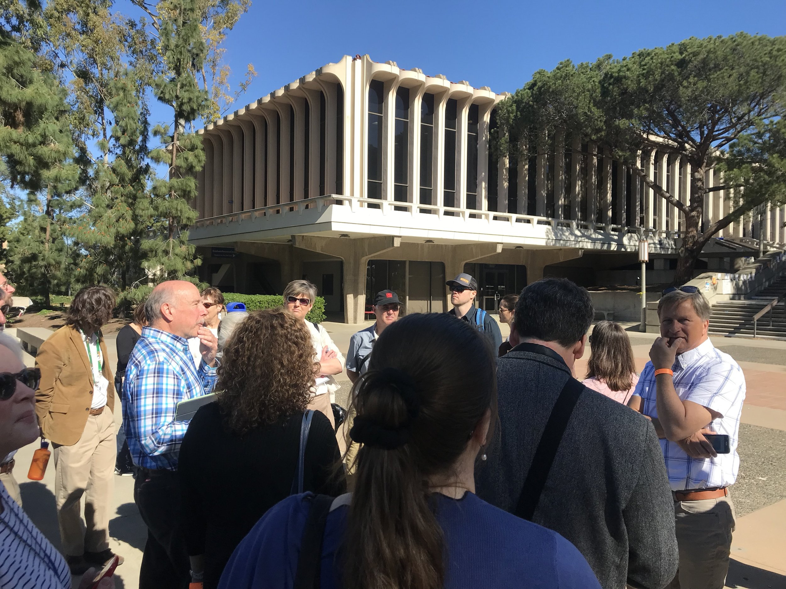 Alan Hess, conducting a tour of the buildings by William Pereira on the University of California Irvine campus, March 2019