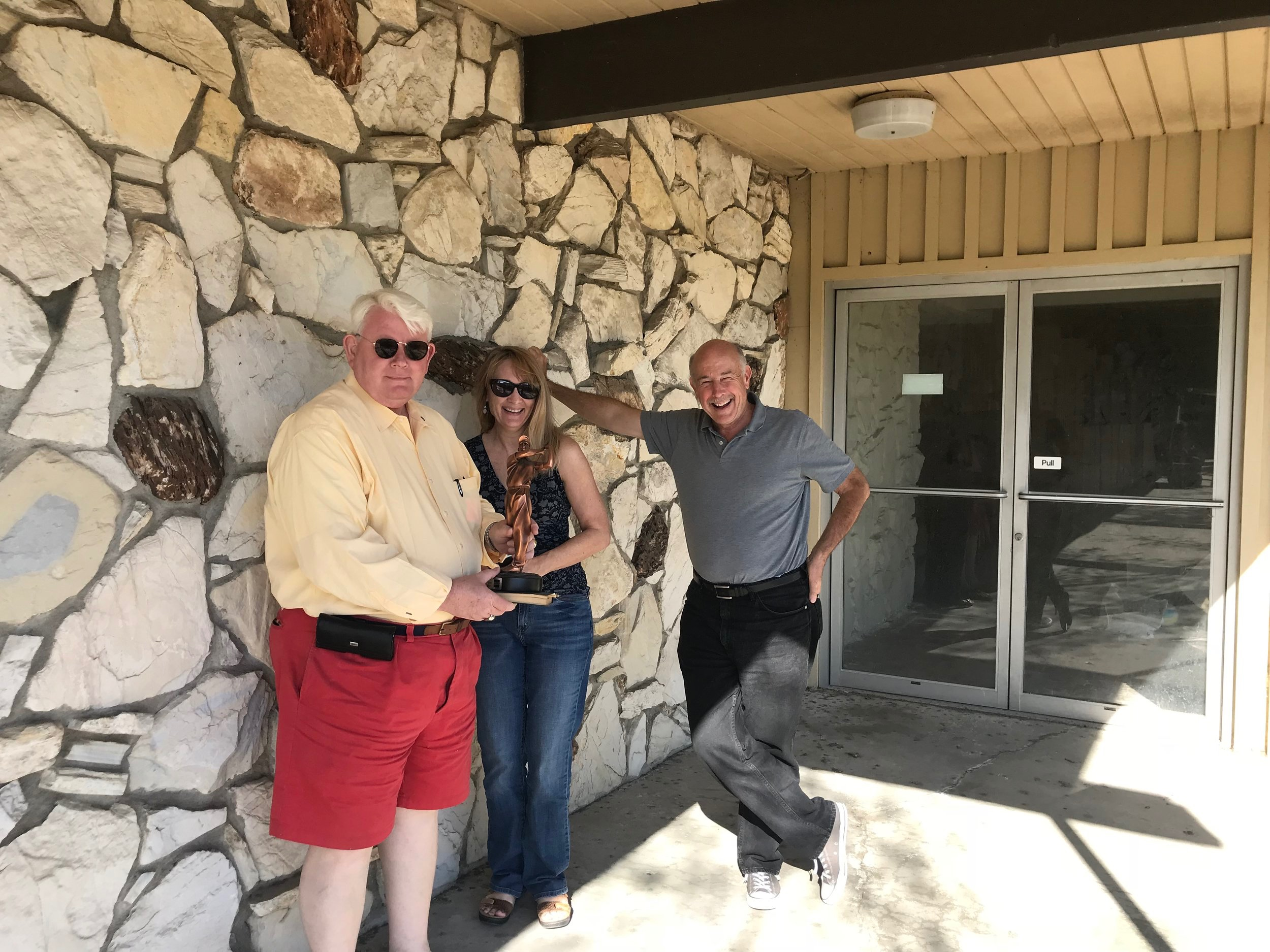 Lisa Taylor with board members, Tim Rush and Alan Hess, on tour of Midcentury Modern OC
