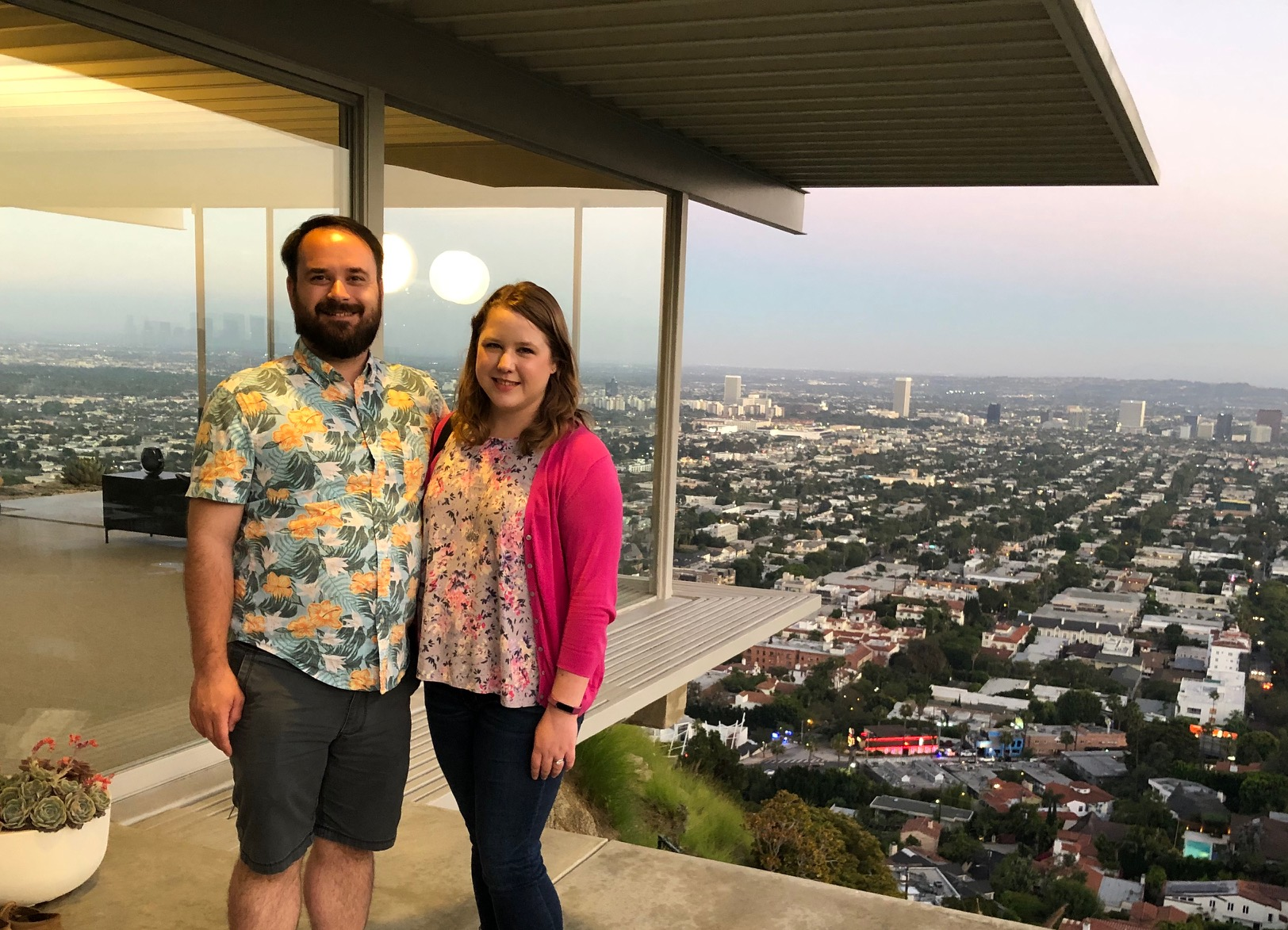 Renee and Mike Salai volunteered at the Eichler Home Tour. Here they are in Los Angeles at the Stahl House (Case Study House #22) this summer, in the foreground of the iconic view.