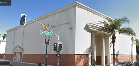 Current building at N. Main and E. 5th Street, Santa Ana. Pediment above entrance is a modern addition but the pillars are part of the 1931 building.