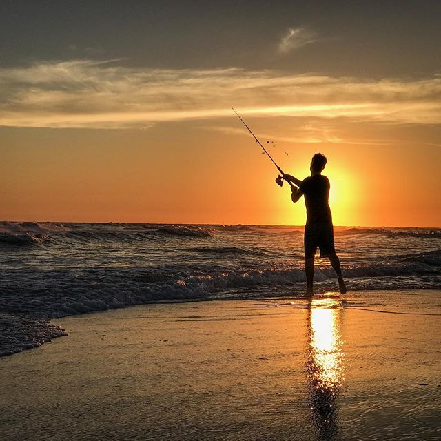 Fishing as the sun goes down in Sea Grove beach Fl. Thanks for the awesome picture @cameronpremo