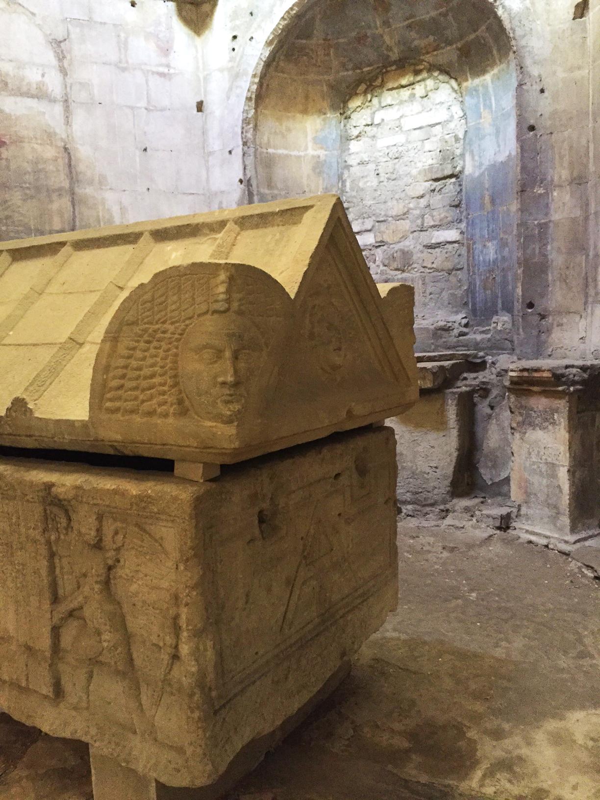 Carved sarcophagus inside Saint-Honorat