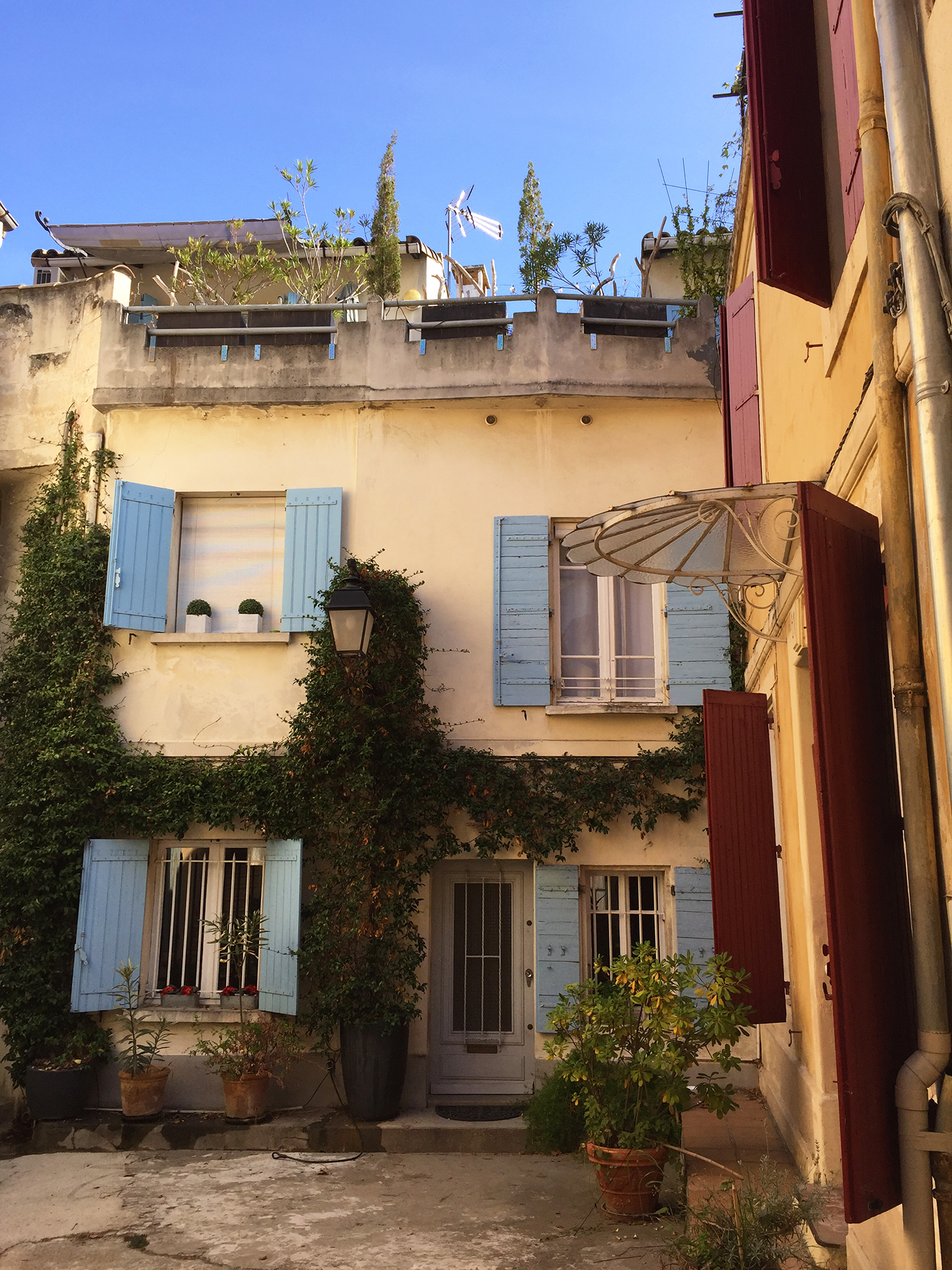 Rue Roulet. Check out the iron and glass marquise on the right side!