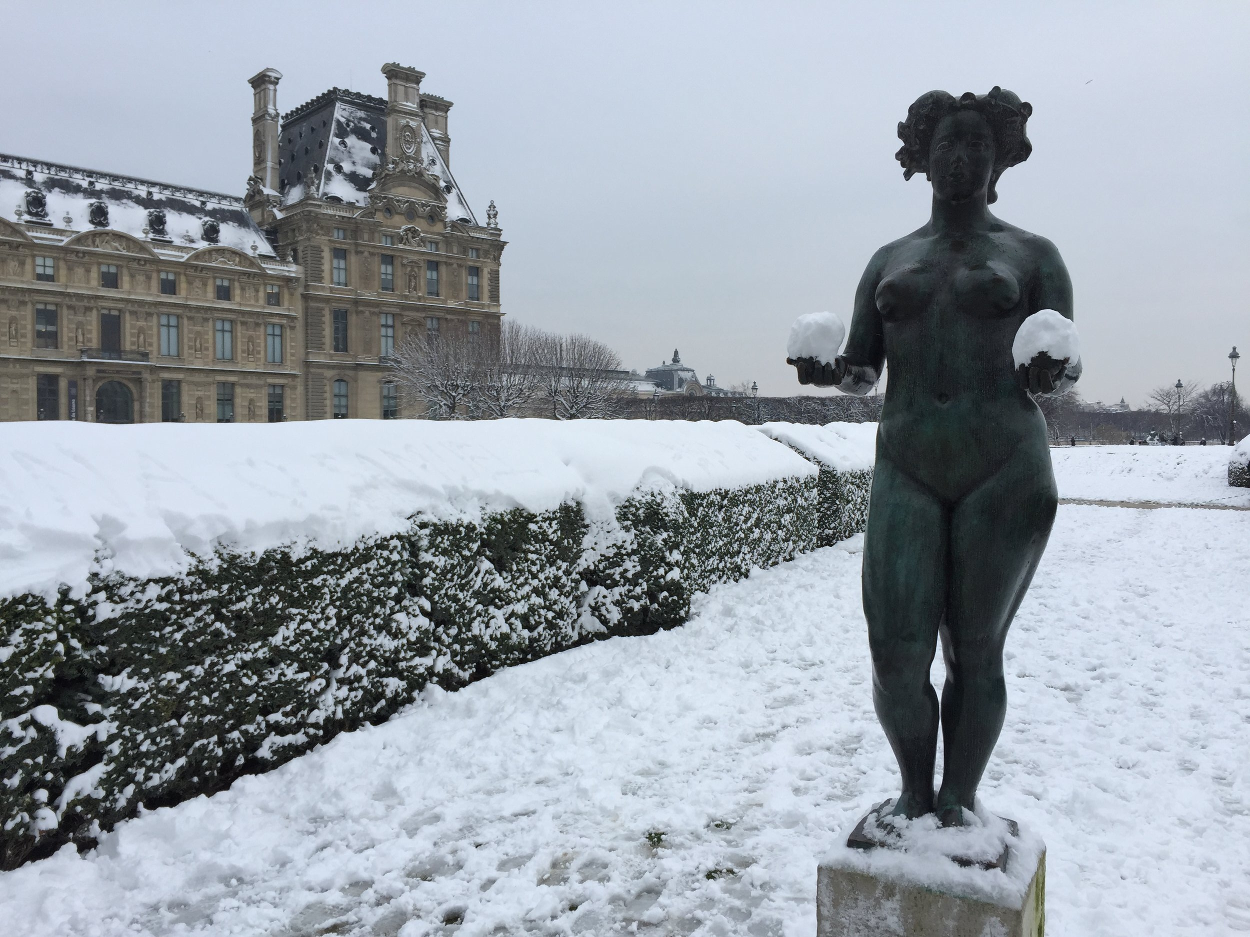 The Tuileries gardens are dotted with statues. I'll call this one The Juggler.