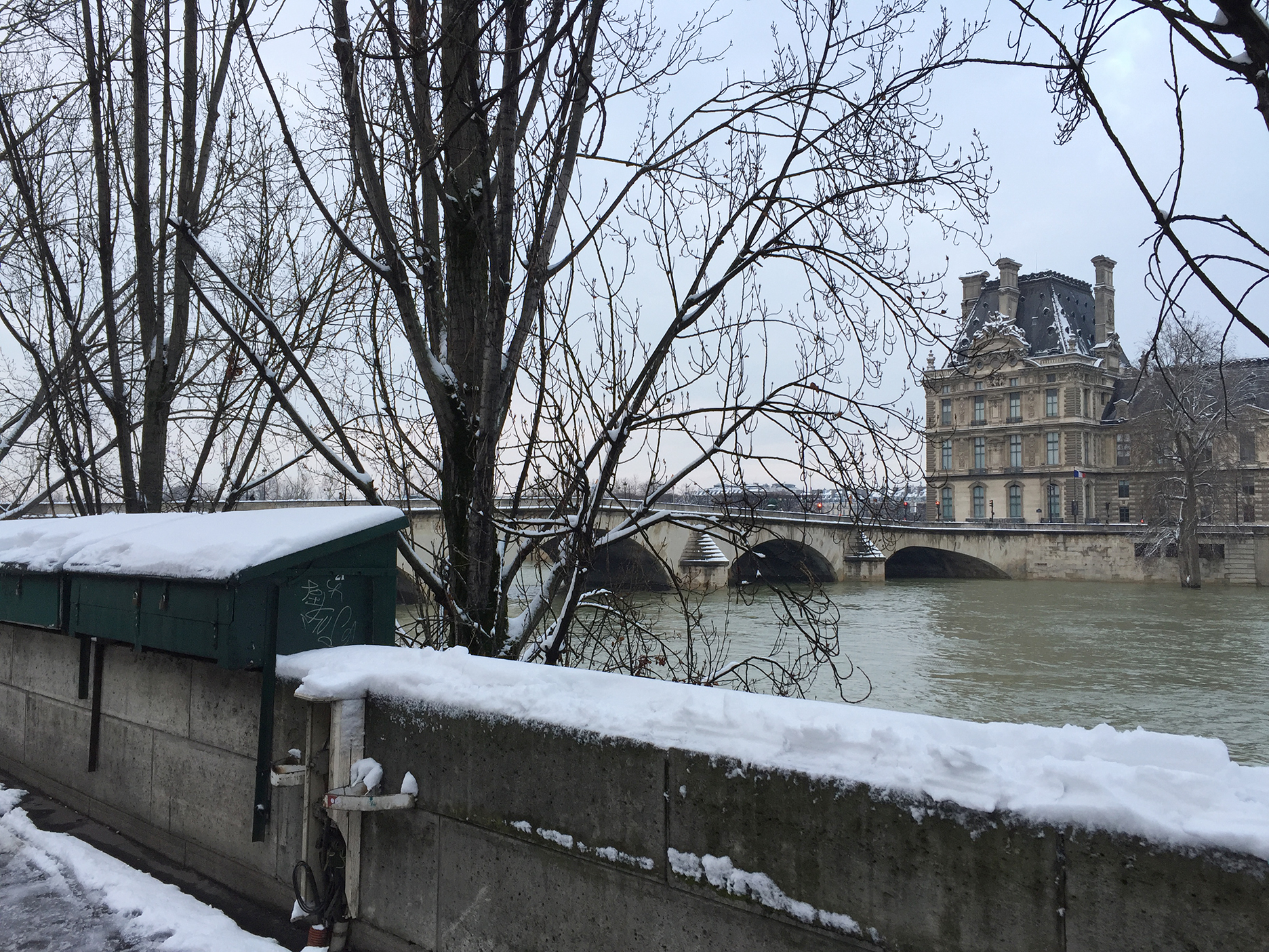 The Louvre and Pont Royal from Quai Voltaire on the Left Bank