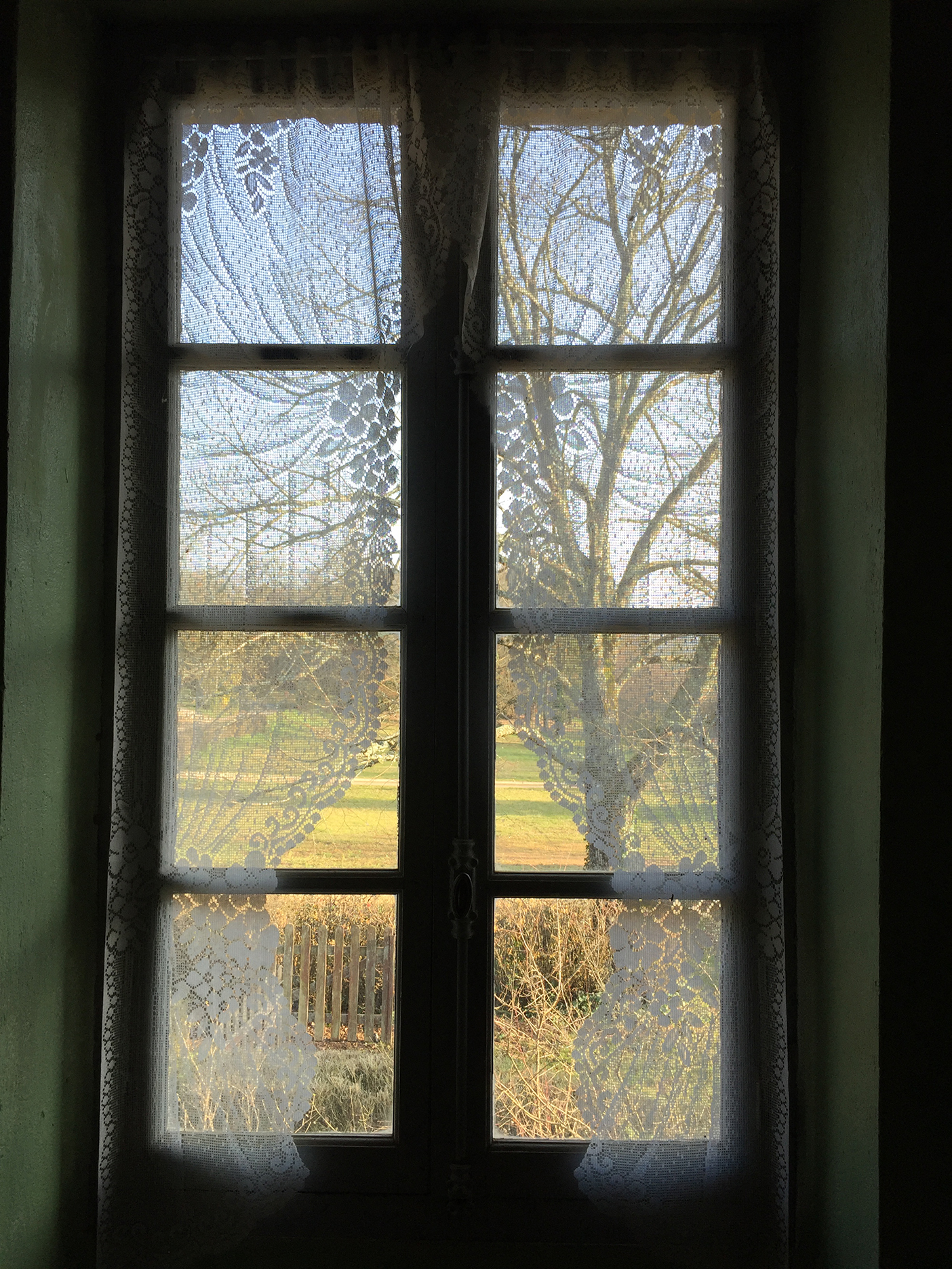 Through the bedroom window