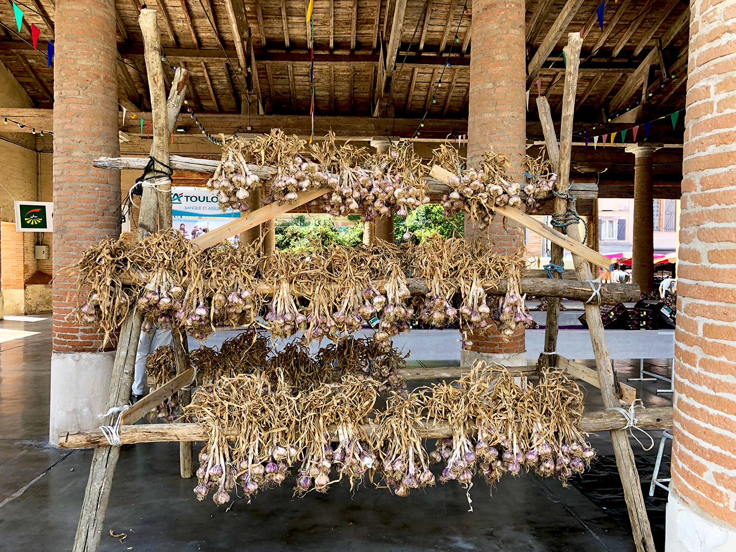 Bunches of garlic are hung to dry under la halle in Cadours