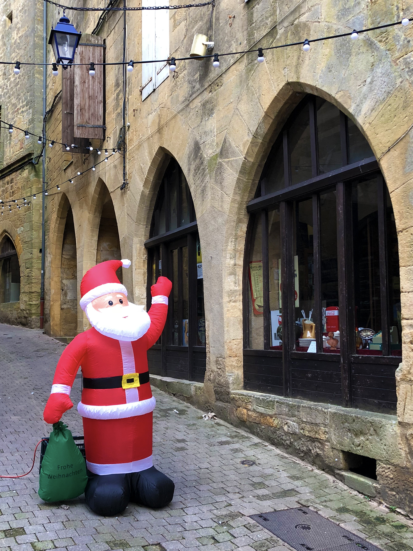 Ho, Ho, Ho! Santa checks out our medieval streets.