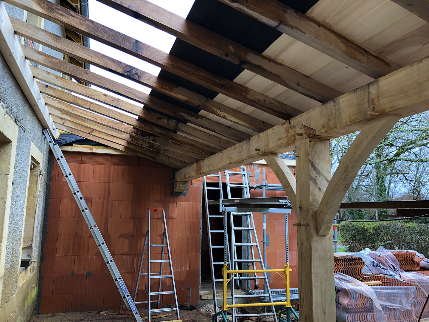 Oak rafters and poplar planks