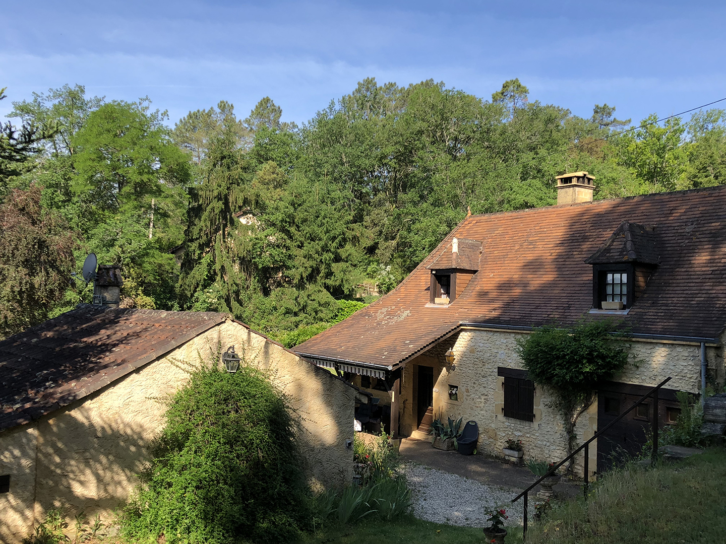 Cécile's house and maison Lafon nestled within the trees