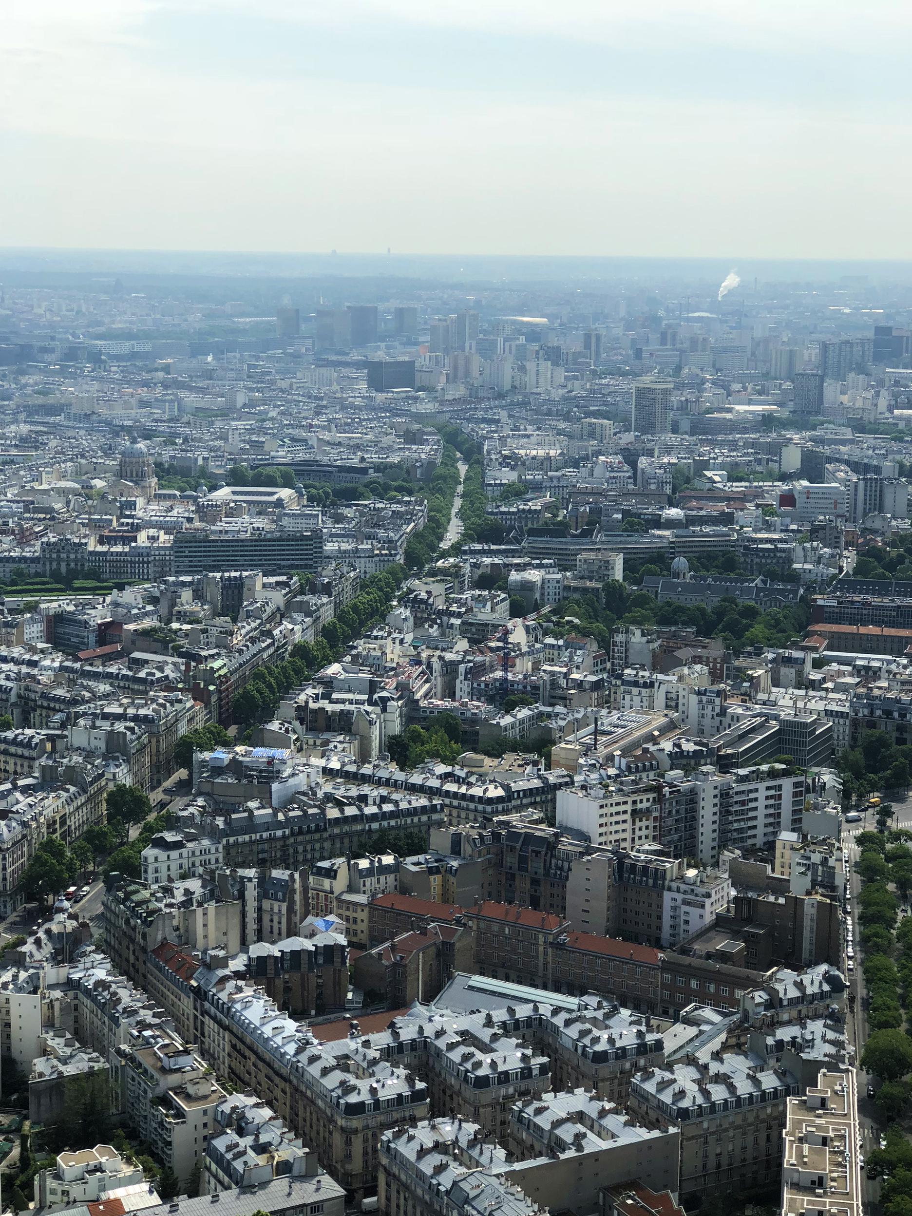 """Looking East: Val de Grâce, boulevard de Port Royal, bibliothèque F. Mitterrand (""""open book"""" buildings), the apartment buildings around place d'Italie."""