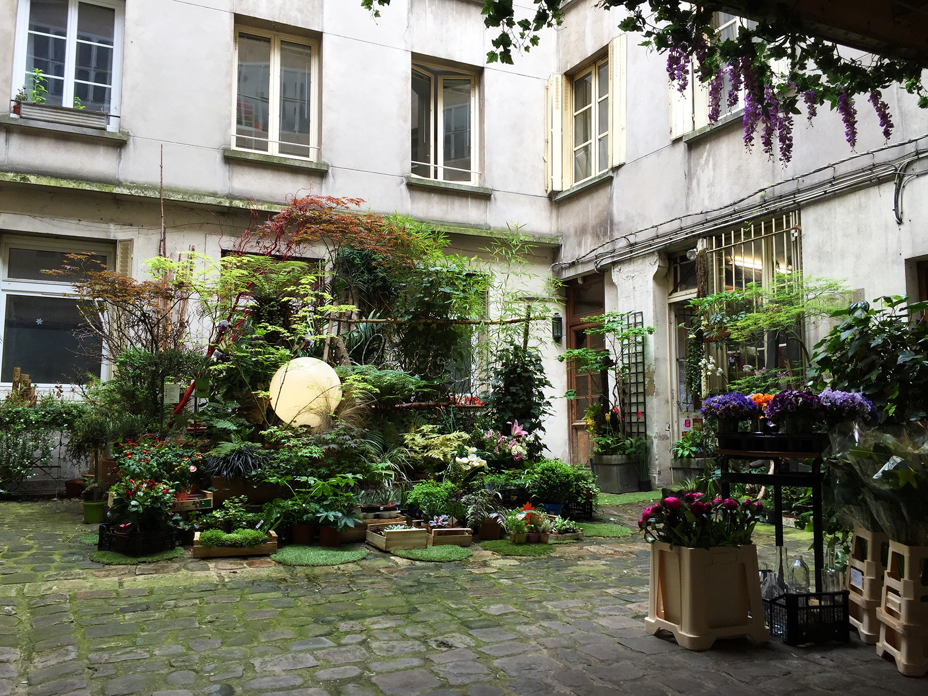 Floral shop tucked in a courtyard