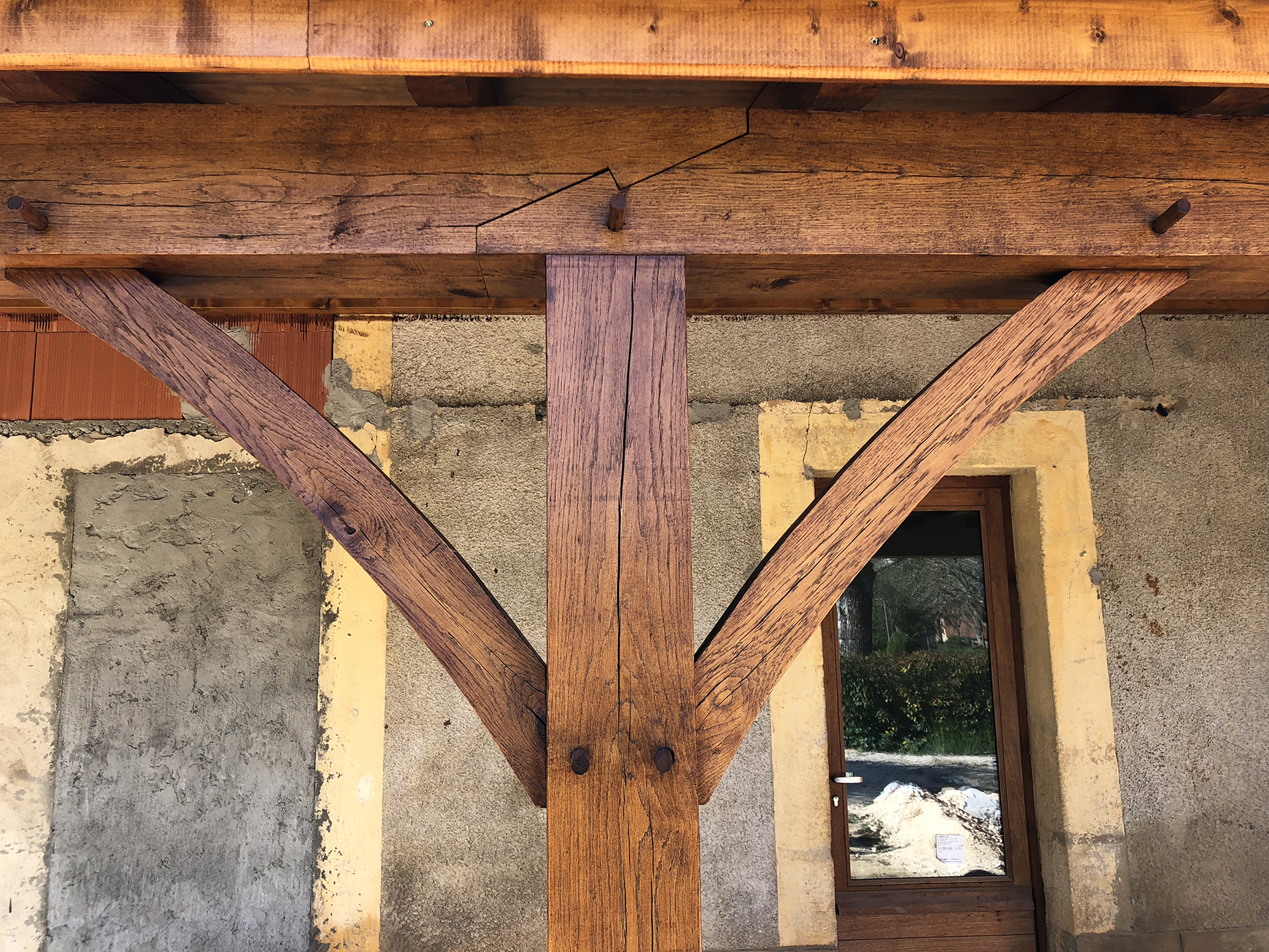 Oak porch was stained