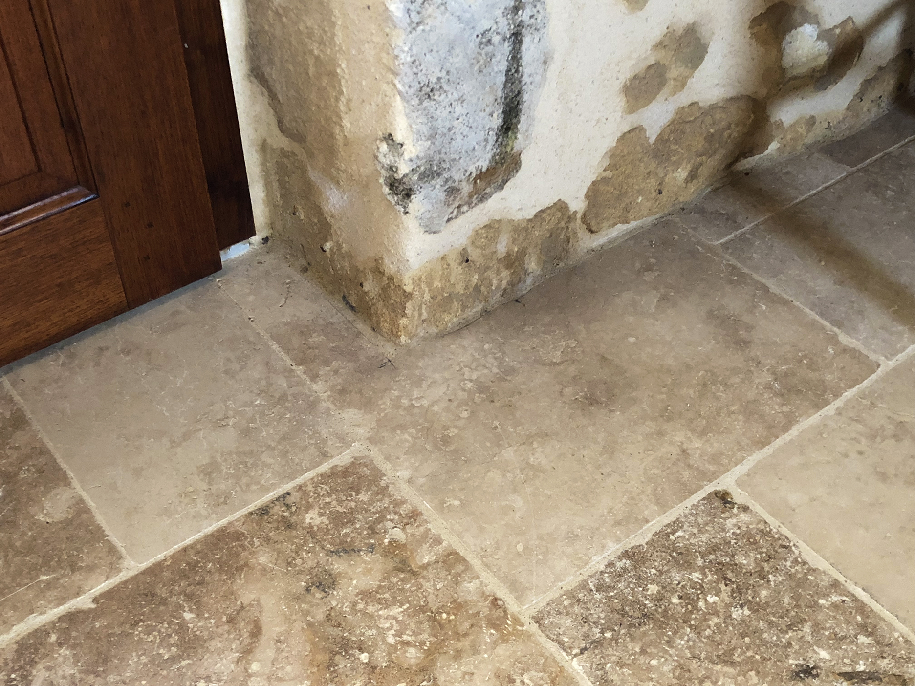 Travertine with grout