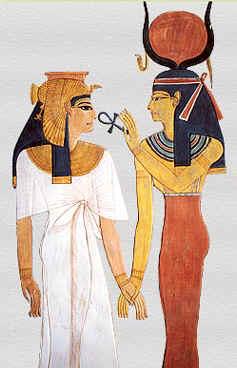 The Egyptian goddess Hathor (R)