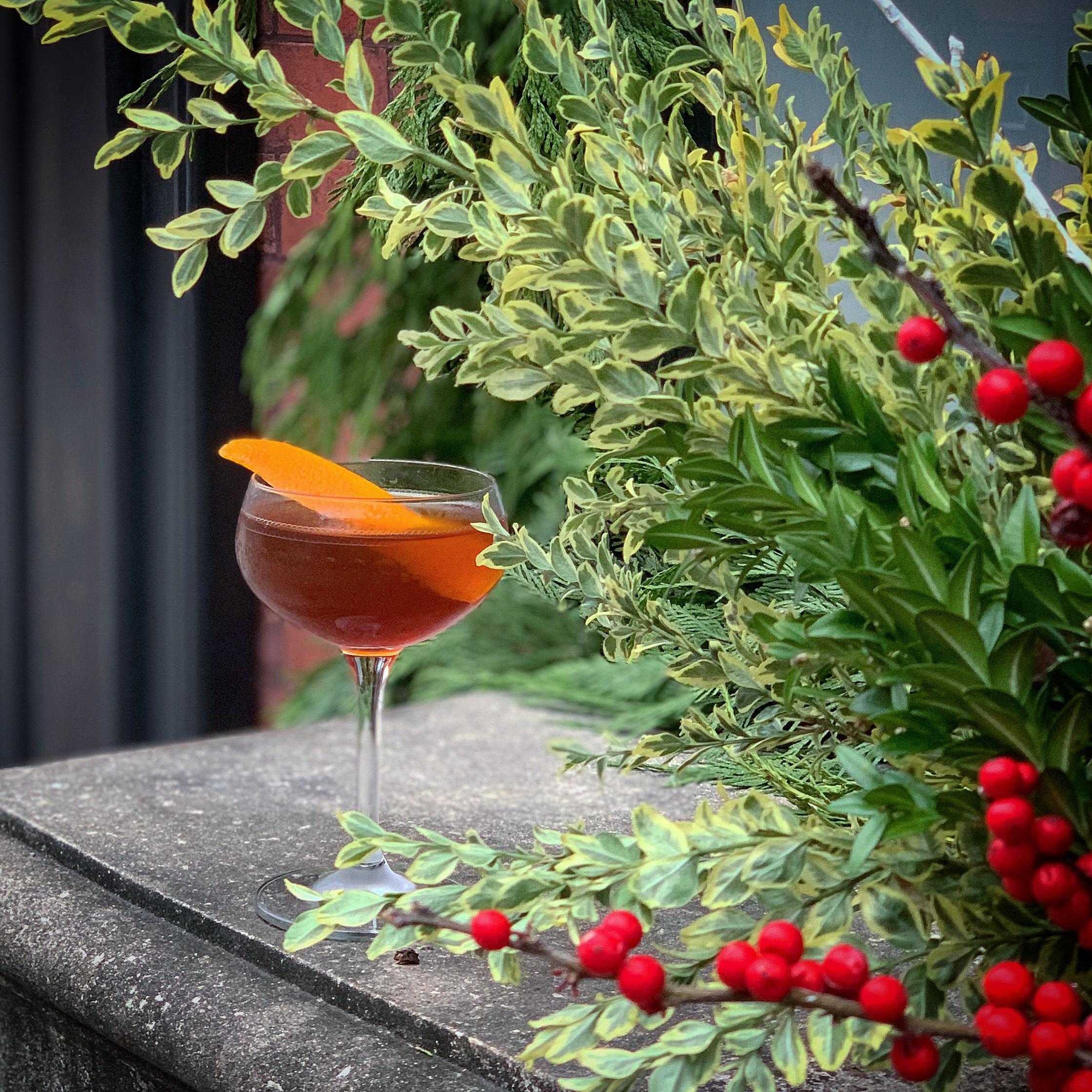 Low Road  (Angostura Rum, Lacuesta Rojo Vermouth, Amaro Rabarbaro Sfumato, rose water)