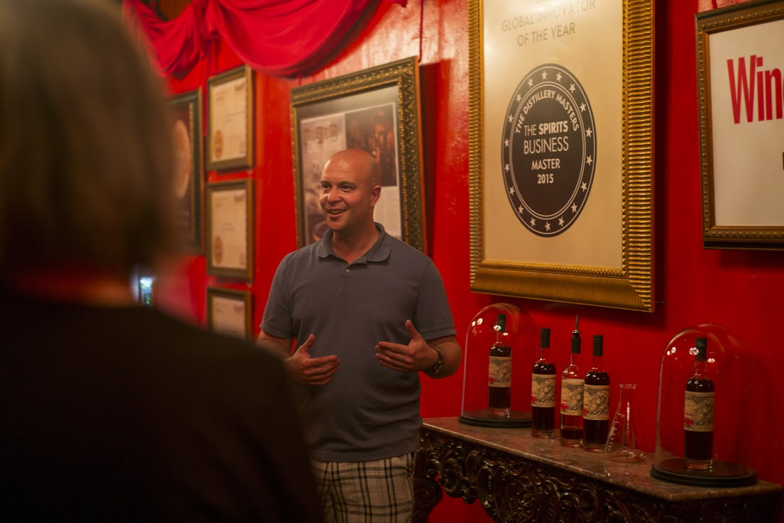 Lost Spirits Co-Founder Bryan Davis educates guests about their Jamaican-style rum.  Photo Credit: Nic Coury
